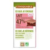 Ethiquable Chocolat au lait 47% Ethiquable Cacao Pérou - Bio - 100g